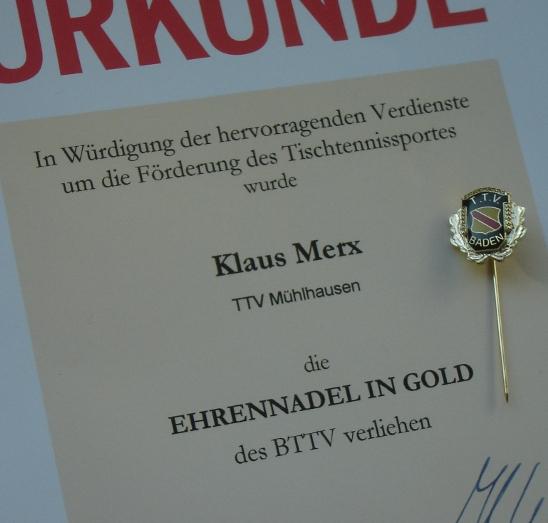 BTTV-Ehrennadel in Gold für Klaus Merx