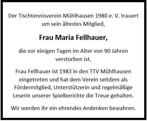 Trauer um Maria Fellhauer